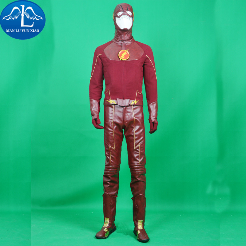 MANLUYUNXIAO Barry Allen The Flash Cosplay Costume Superhero Halloween Men Coat Suit Clothes Party Custom Made Adult With Boots