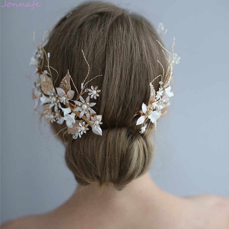 Jonnafe Wedding Hair Crown Clip Gold Leaf Floral Bridal Hair Jewelry Handmade Vintage Women Prom Headpiece Accessories