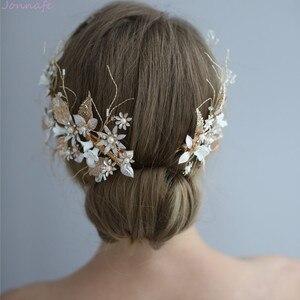 Image 1 - Jonnafe Hochzeit Haar Crown Clip Gold Leaf Floral Braut Haar Schmuck Handgemachte Vintage Frauen Prom Kopfstück Zubehör