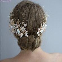 Jonnafe Wedding Hair Crown Clip Gold Leaf Floral Bridal Hair Jewelry Handmade Vintage Women Prom Headpiece Accessories