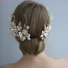 Jonnafe 結婚式のヘア王冠クリップ金箔花ブライダルヘアジュエリーハンドメイドヴィンテージ女性ウェディングヘッドピースアクセサリー