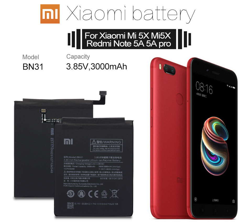 US $10 88  Xiao Mi Original BN31 Replacement Phone Battery High Capacity  3000mAh For Xiaomi Mi 5X MiA1 Mi5X / Redmi Note 5A /5A Pro Tools-in Mobile