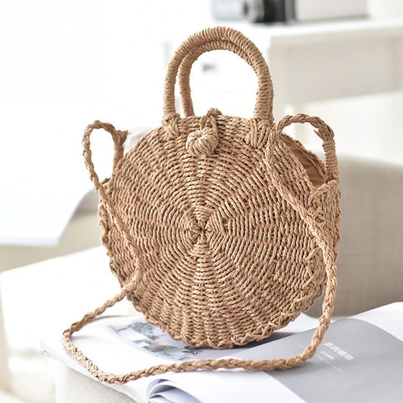 Straw Handbag Handmade Rattan Braided Round Lady's Summer Mesh Beach Shoulder Bag Woman Messenger Bag Tote все цены
