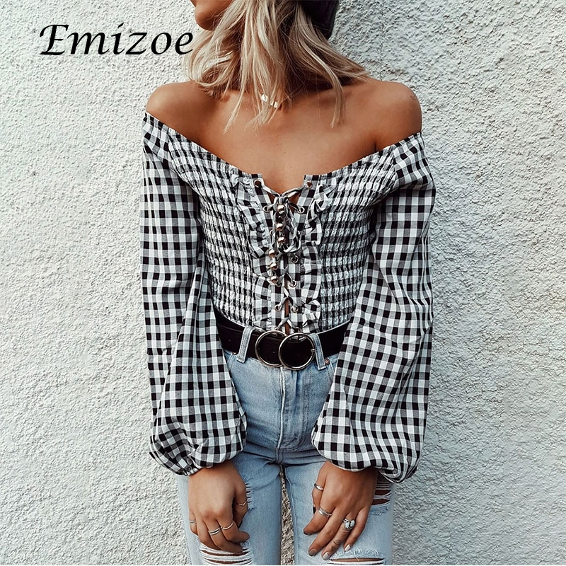 Emizoe 2018 vintage plaid off shoulder jumpsuit rompers women lace up blouses tops lantern sleeve bodycon short bodysuits
