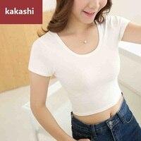 T Shirt Women Summer Tees Cotton Shirt O Neck Short Sleeve Slim Crop Top High Waist