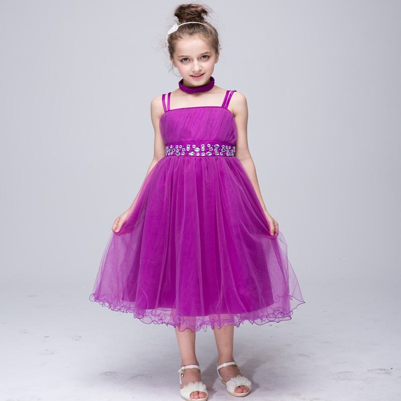 Summer New Arrival Hot Sale Princess Toddler Girls Solid 4 Colors Offer Sash Decor Lovely Ball Gown Sleeveless Fashion Dress