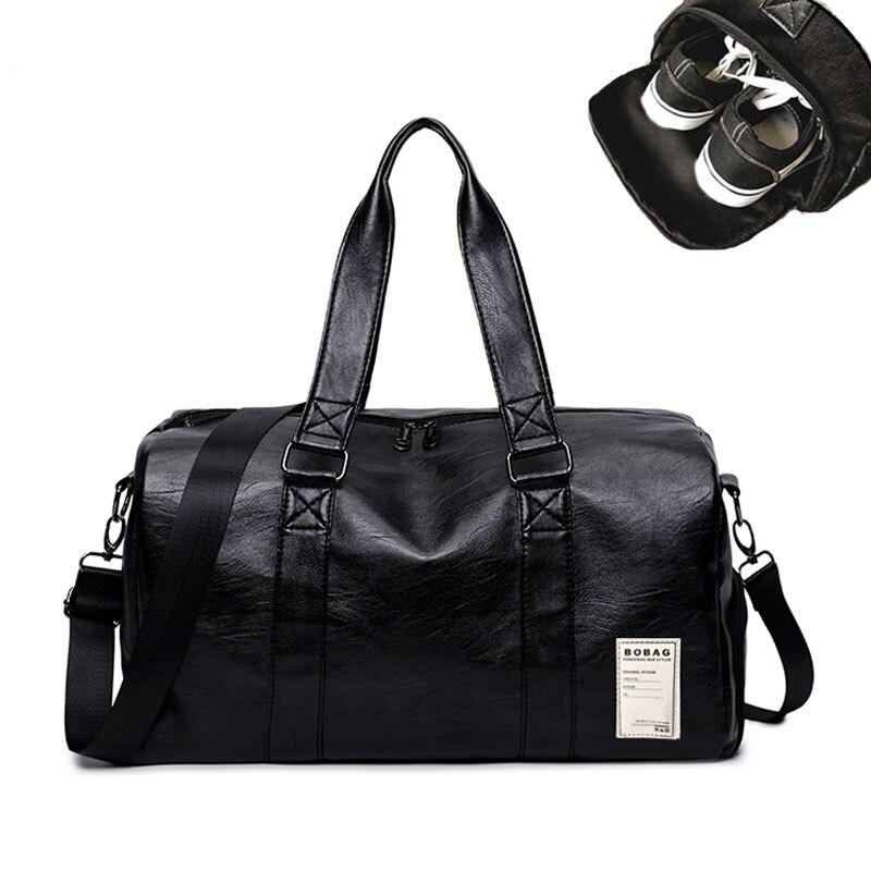 Для мужчин из искусственной кожи Gym bag мужской большая спортивная сумка для Фитнес Для мужчин Для женщин Сумки Training сумка с Обувь карман SAC xa567wd