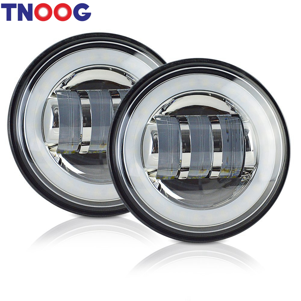 2pcs 4.5Inch LED Motorcycle Headlight Fog Light White halo ring Kit Passing Lamp for Accessory 4 1/2 LED Auxiliary Light