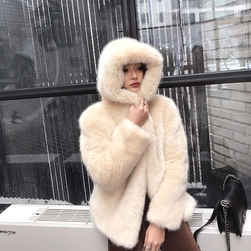 Fox Pelzjacke 2018 Shaggy Kapuze Ansfx Mit Mantel False Oberteile Beige Oberbekleidung Stylish Warme Frau wie Langermel Hair abgebildet Hairy m8ynOv0wNP