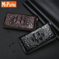Роскошный крокодил кожаный клатч кошелек для мужчин Мода натуральная кожа id держатель для карт кошелек телефон кошелек на молнии подарок д