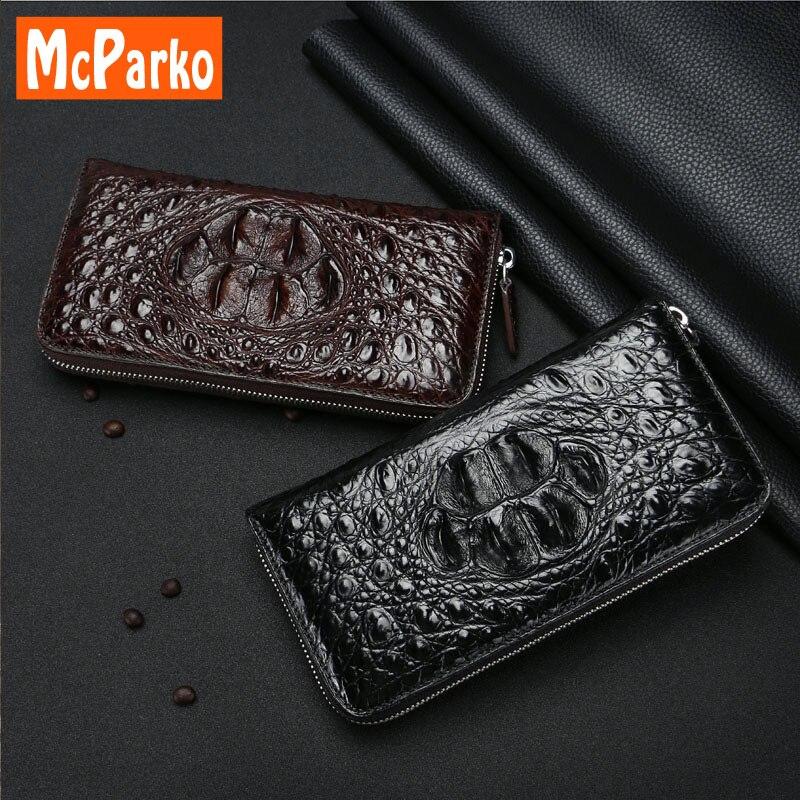 De luxe de Crocodile en cuir d'embrayage portefeuille pour hommes Mode Véritable en cuir id titulaire de la carte wallet téléphone bourse zipper Présent pour mâle