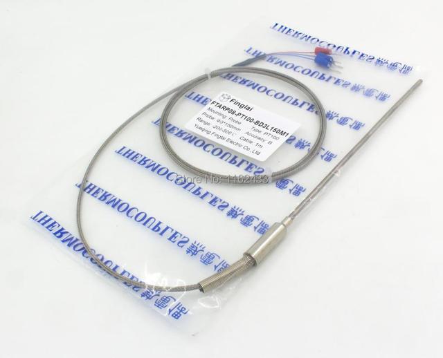 FTARP08 PT100 typ 1m metalowy pleciony kabel 150mm elastyczna głowica sondy czujnik temperatury RTD średnica 3mm 4mm 5mm 6mm WZPK-191