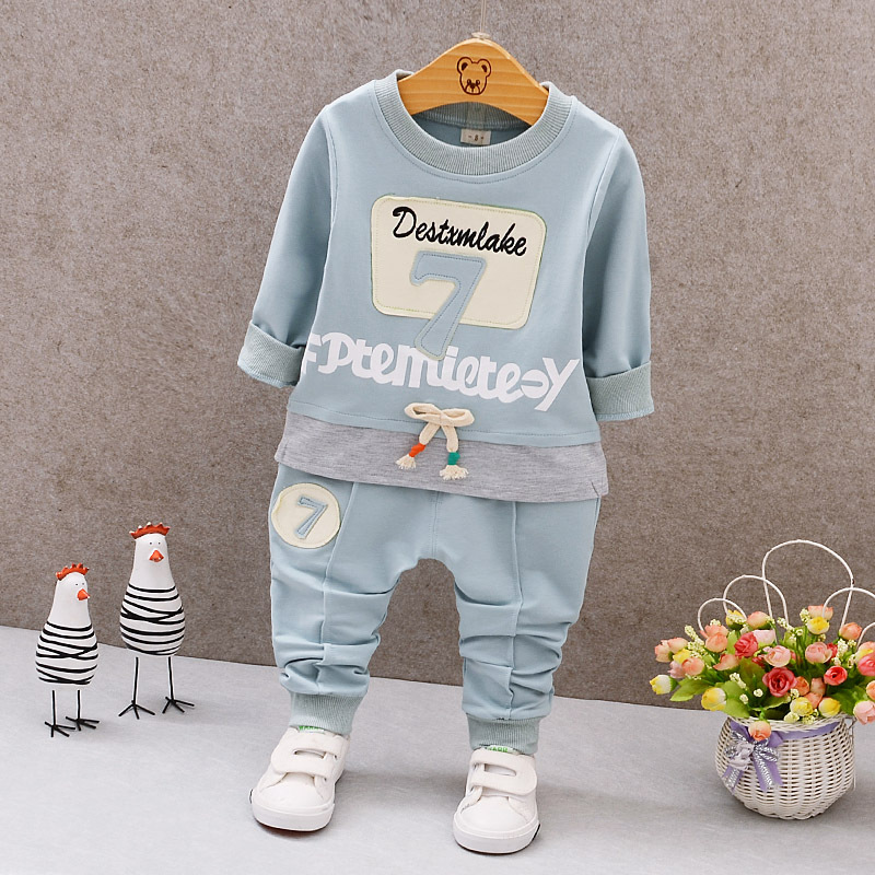Baby Girl Boy Clothes 2018 Spring Baby Clothing Sets Numnber Printing Sweatshirts+Casual Pants 2Pcs for Baby Clothes 0-4Yr