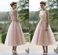 Vestido de Madrina 2017 Blush Pink Tulle Del Cordón Vestidos de dama de Honor Corto de Longitud de Té Elegante Mujeres de Los Invitados de La Boda Vestido de Fiesta