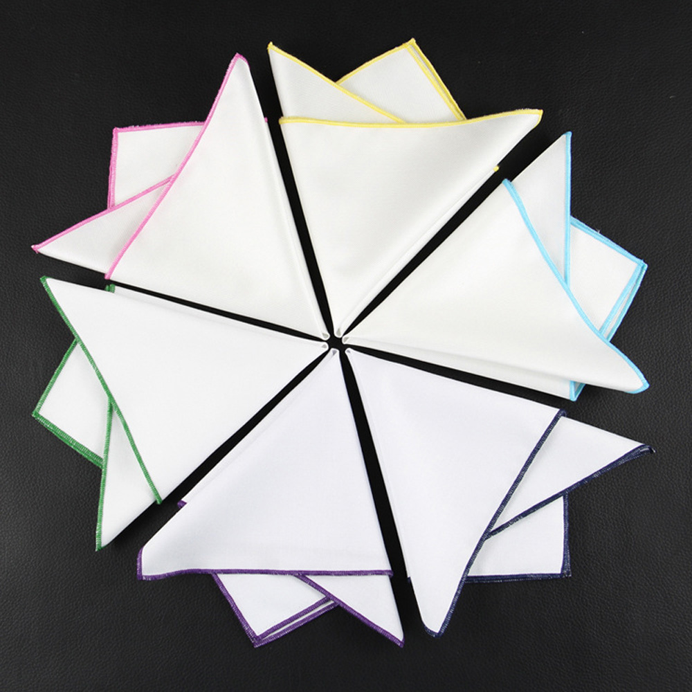 Men Classic White Cotton Colorful Rolled Handkerchief Pocket Square Hanky BWTYX0150