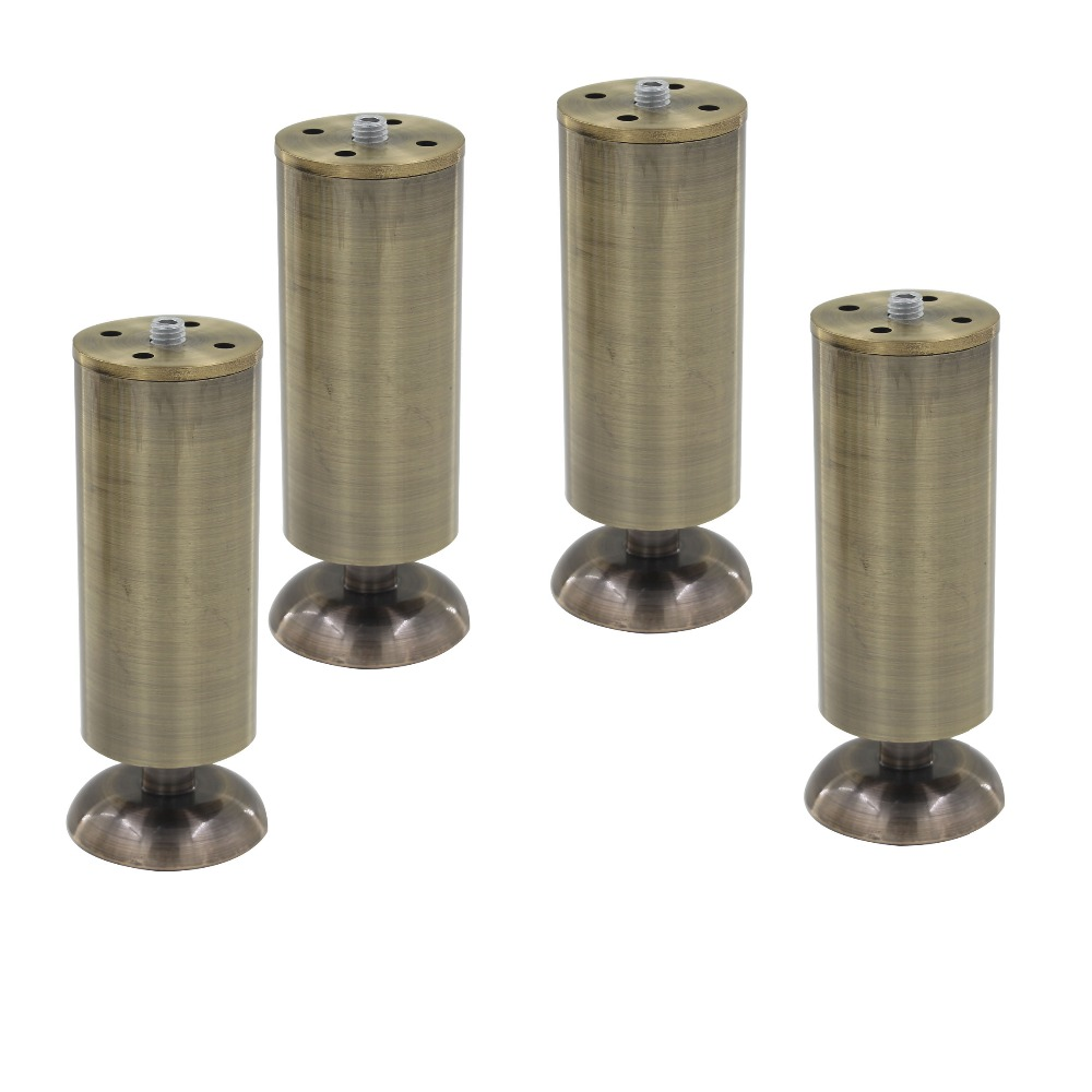 4pcs 150mm Height Adjustable Cabinet Legs Feet Bronze Aluminum Alloy 50mm Diameter Table Bed Sofa Level Feet Furniture Legs 4pcs 150mm height furniture legs adjustable 10 15mm cabinet feet silver tone stainless steel leveling feet for table bed sofa