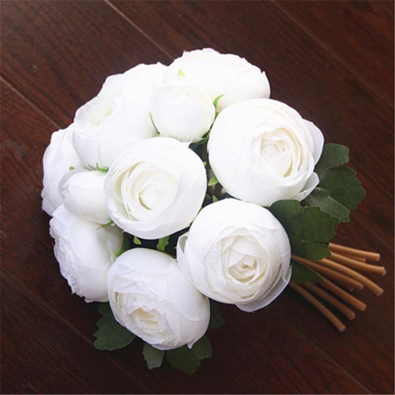 10 Stems Artificial Floral Silk Fake Flower Bouquet Home Garden Decor White