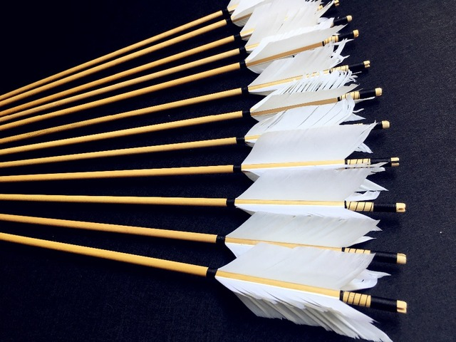 6/12/24PK  high quality wooden arrow white feather real archery hunting recurve bow 6