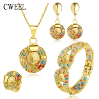 Fine Bridal Colorful Crystal Jewelry Sets Wedding Accessories Gold Plated African Beads Costume Statement Necklace Earrings