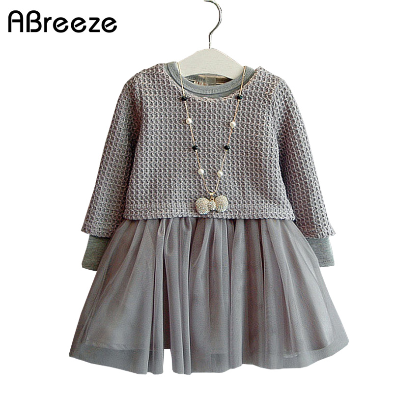 2017 Autumn style girls clothing dresses fashion long sleeve voile dresses for little child 2-7Y color gray girls dresses 2PCS