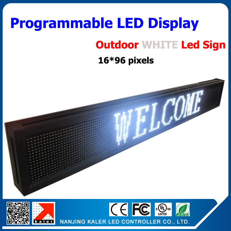 Led moving text display 16*96dots white color super bright shop advertising p10mm optoelectronic screen white color led sign