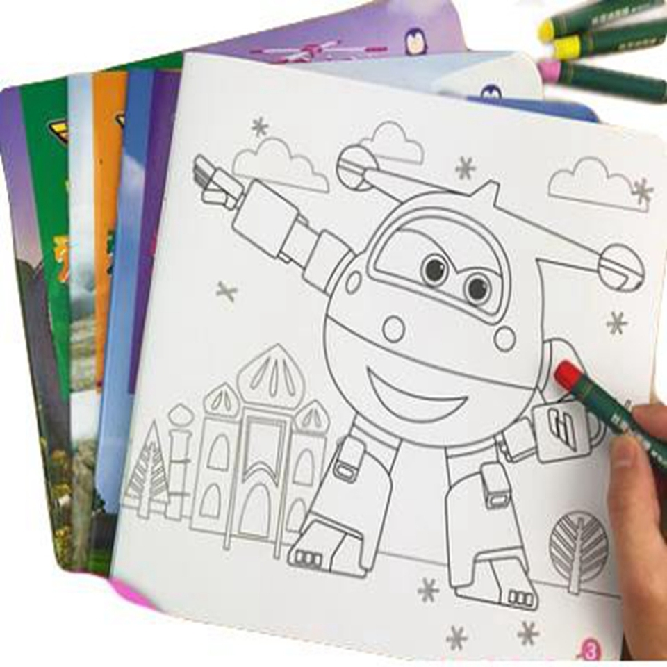 1 Pcs Cartoon Drawing Book Super Wings Air Plane Action Figures