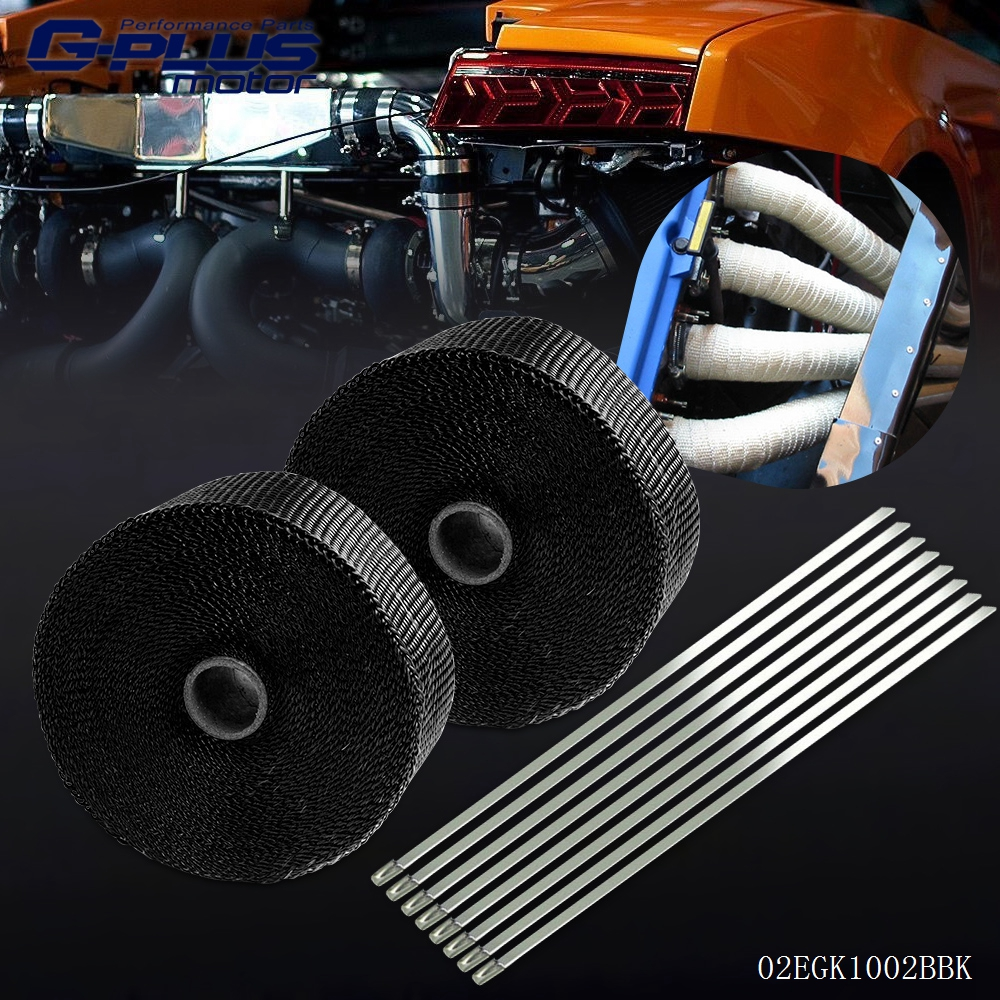 2 * Car Motorcycle 10m Exhaust Heat Wrap Turbo Pipe Heat Insulated + Cable Ties