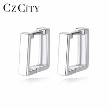 CZCITY Brand Classic Real 925 Sterling Silver on Earrings Sq