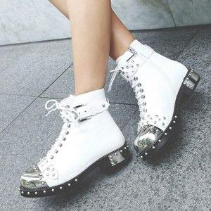 Image 5 - MORAZORA 2019 di marca rivetti punk della caviglia stivali delle donne di autunno di inverno genuino stivali di pelle femminile di alta qualità stivali da moto scarpe
