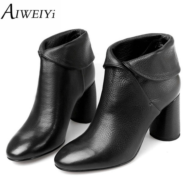 AIWEIYi женская обувь натуральной кожи мотоботы на высоких каблуках зимние сапоги на высоком каблуке фирменная модельная обувь на платформе для женщин