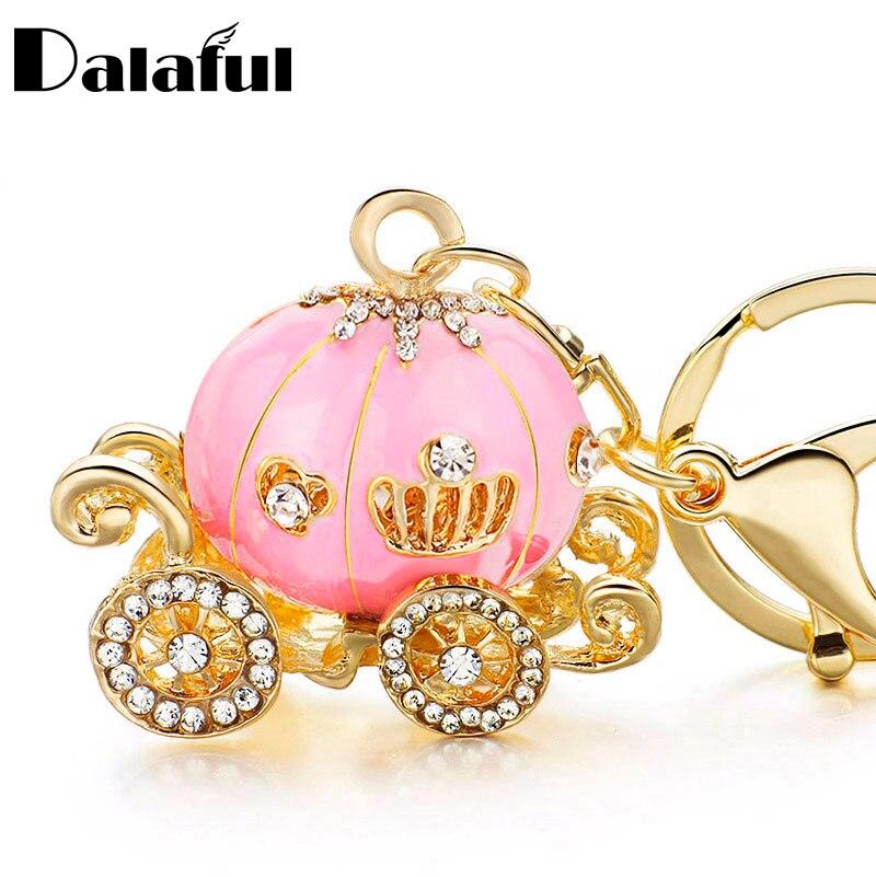 Dalaful Pumpkin Carriage Crystal For Hallowmas Fairy Tale Keychain Purse Bag Buckle HandBag Pendant For Car Keyring Holder K227