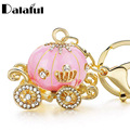 Pumpkin Carriage Crystal For Hallowmas Fairy Tale trendy Keychain Purse Bag Buckle HandBag Pendant For Car Keyring Holder K227