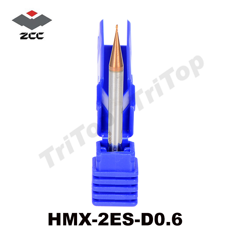 2pcs/lot HRC 68 HM/HMX-2ES-D0.6 solid tungsten carbide 2 flute  flattened end mill with straight shank cobalt cnc milling tool zcc ct hm hmx 2efp d12 0 solid carbide 2 flute flattened end mills with long straight shank and short cutting edge