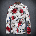 2016 men's boutique autumn slim fit leisure broken beautiful long sleeve shirts/Male lapels, high-grade leisure shirt/size S-5XL