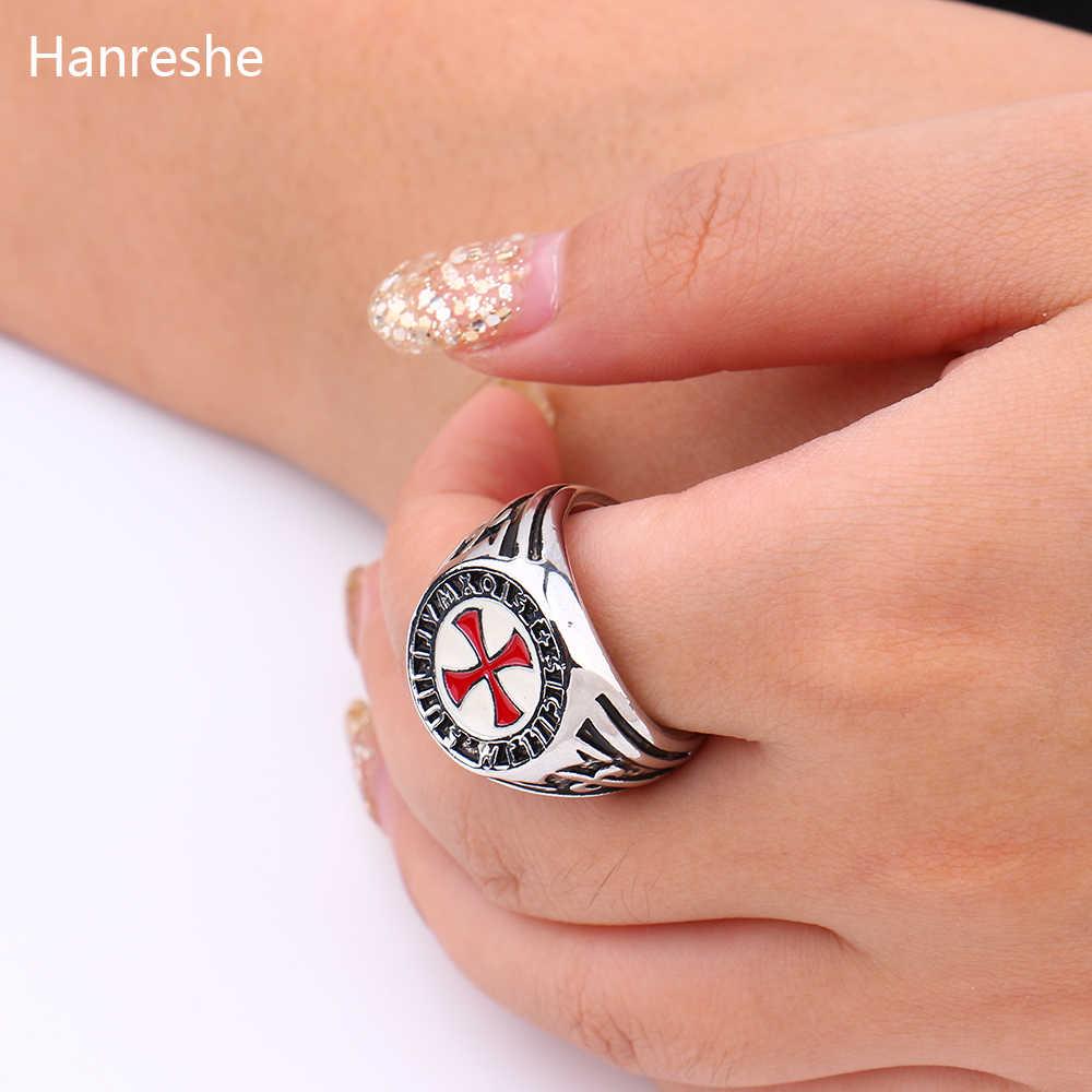 HANRESHE Retro Red Enamel Cross Shield แหวนผู้ชายแหวนเงิน Assassins เครื่องประดับอัศวิน Templar แหวน