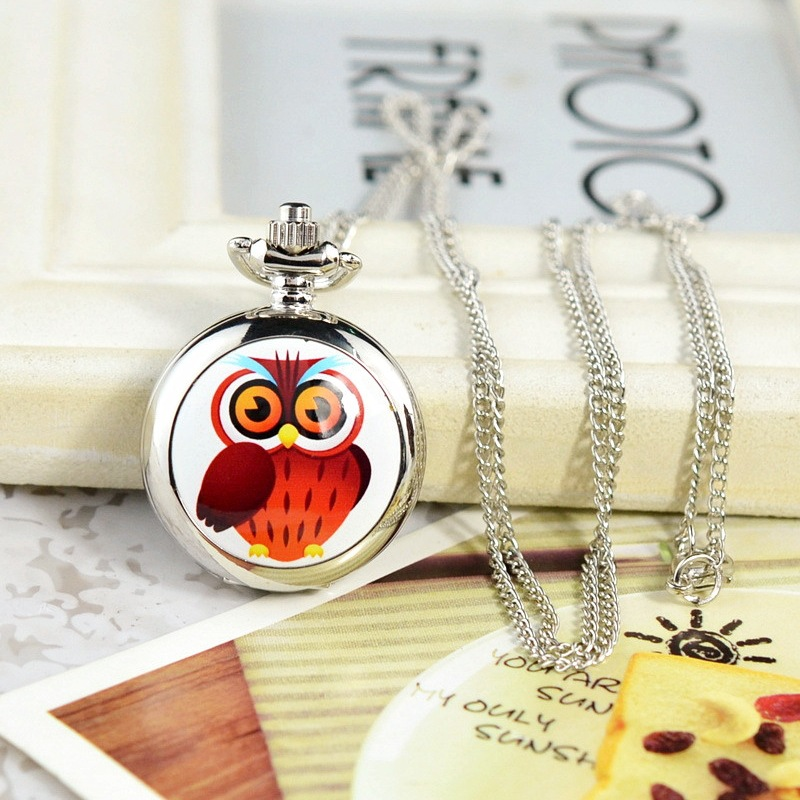 Lucky Owl Pocket Watch Enamel Cover Children's Pocket Watches Quartz Pocket & Fob Watch for Kids Lovely Christmas/New Year Gift