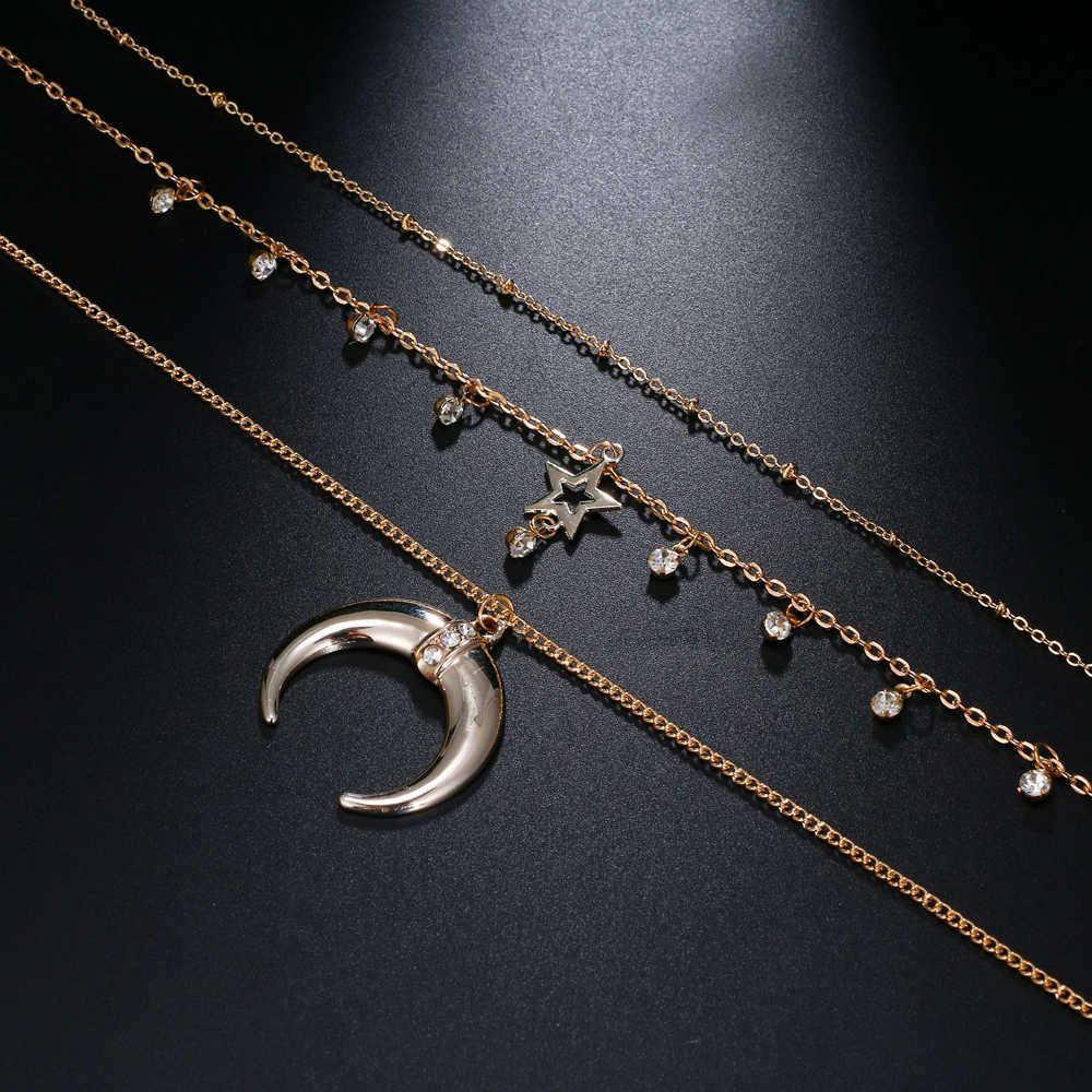 IPARAM богемное полумесяц звезда кристалл кулон ожерелье 2019 женский ретро слоистый кулон с полумесяцем Многослойные ювелирные изделия воротник Gif