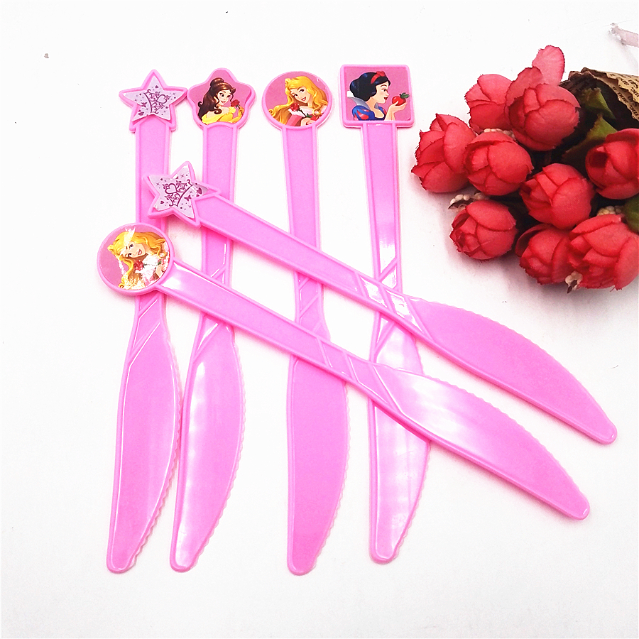 6pcs/set Six Princess Party Supplies Pink Knives Cartoon Party For Kids/Baby Favorite Bi ...