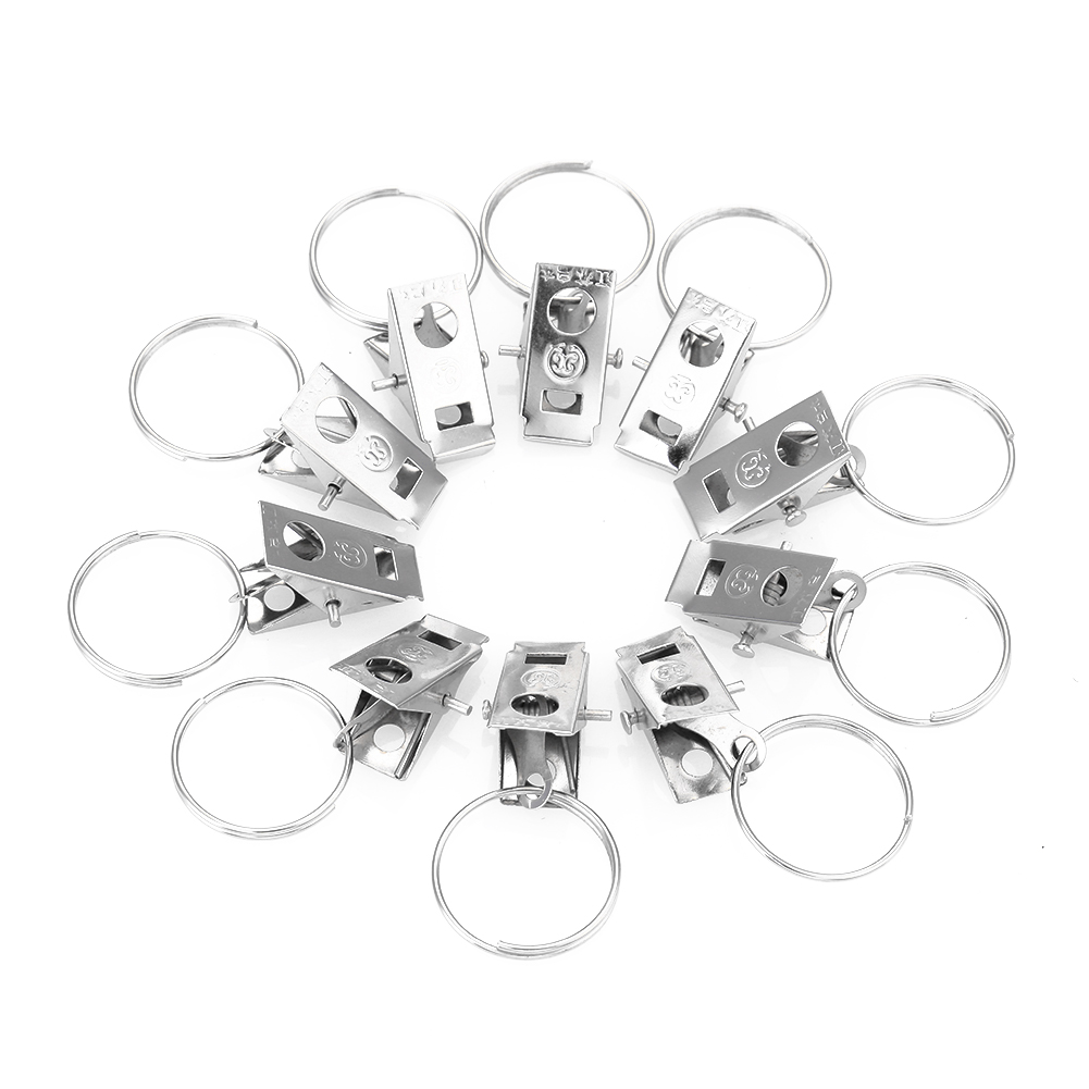 10Pcs Metal Window Shower Curtain Rod Clips Clamp Eyelets Rings Universal