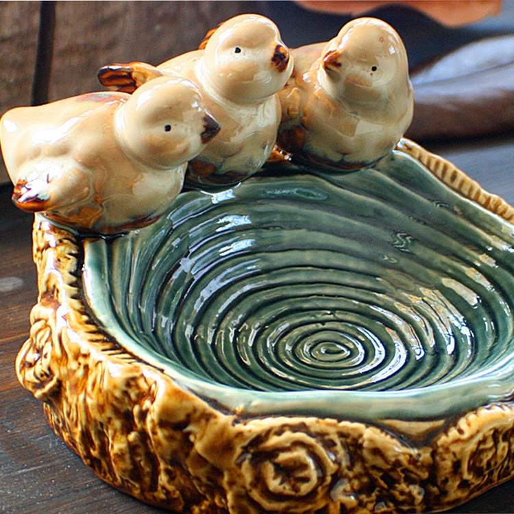 vintage Creative ceramic bird ashtray soap dish Fruit candy home decor crafts room decoration handicraft porcelain figurine