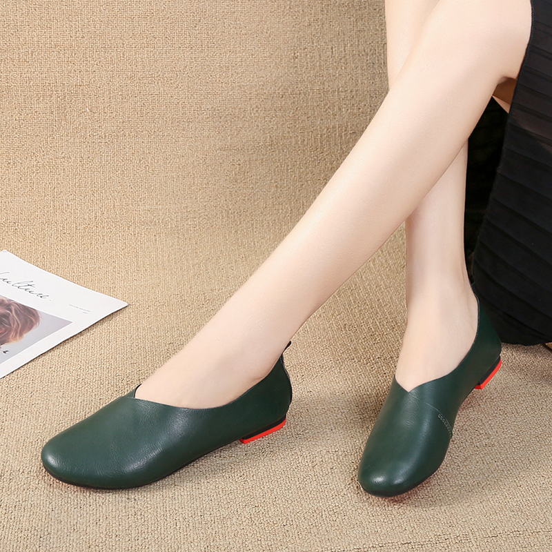 Women's Leather Flats shoes Spring