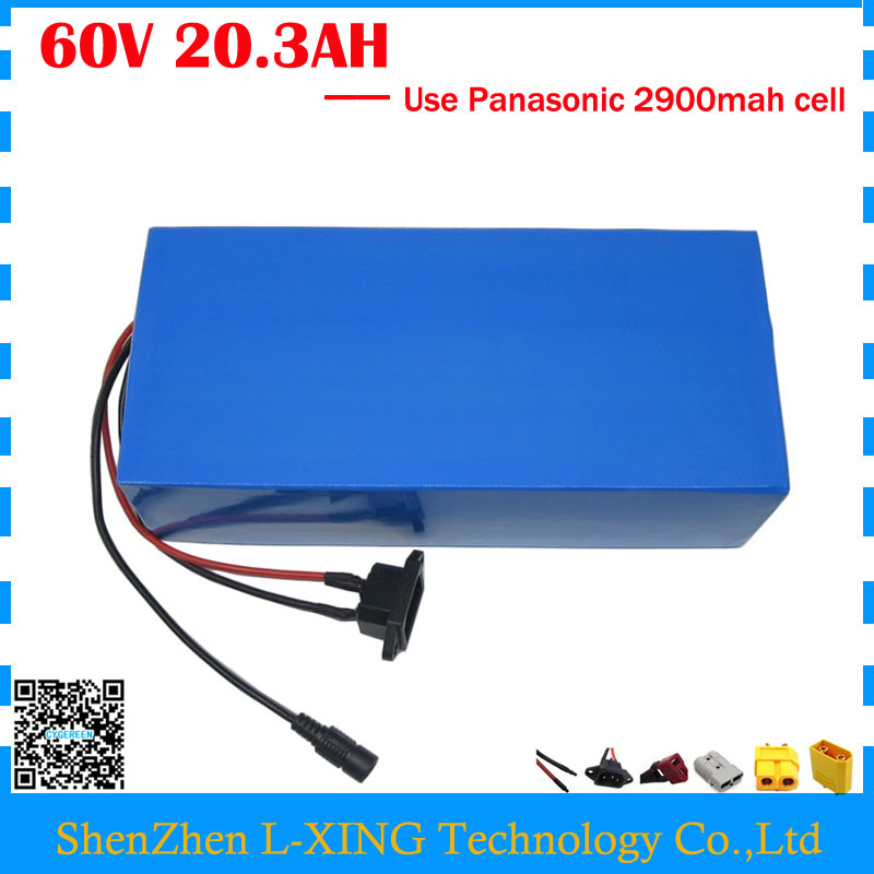 Free customs duty 3000W 60V 20AH Lithium battery 60V 20.3AH electric bicycle battery use Panasonic 2900mah cell 50A BMS free customs duty 1000w 48v ebike battery 48v 20ah lithium ion battery use panasonic 2900mah cell 30a bms with 54 6v 2a charger