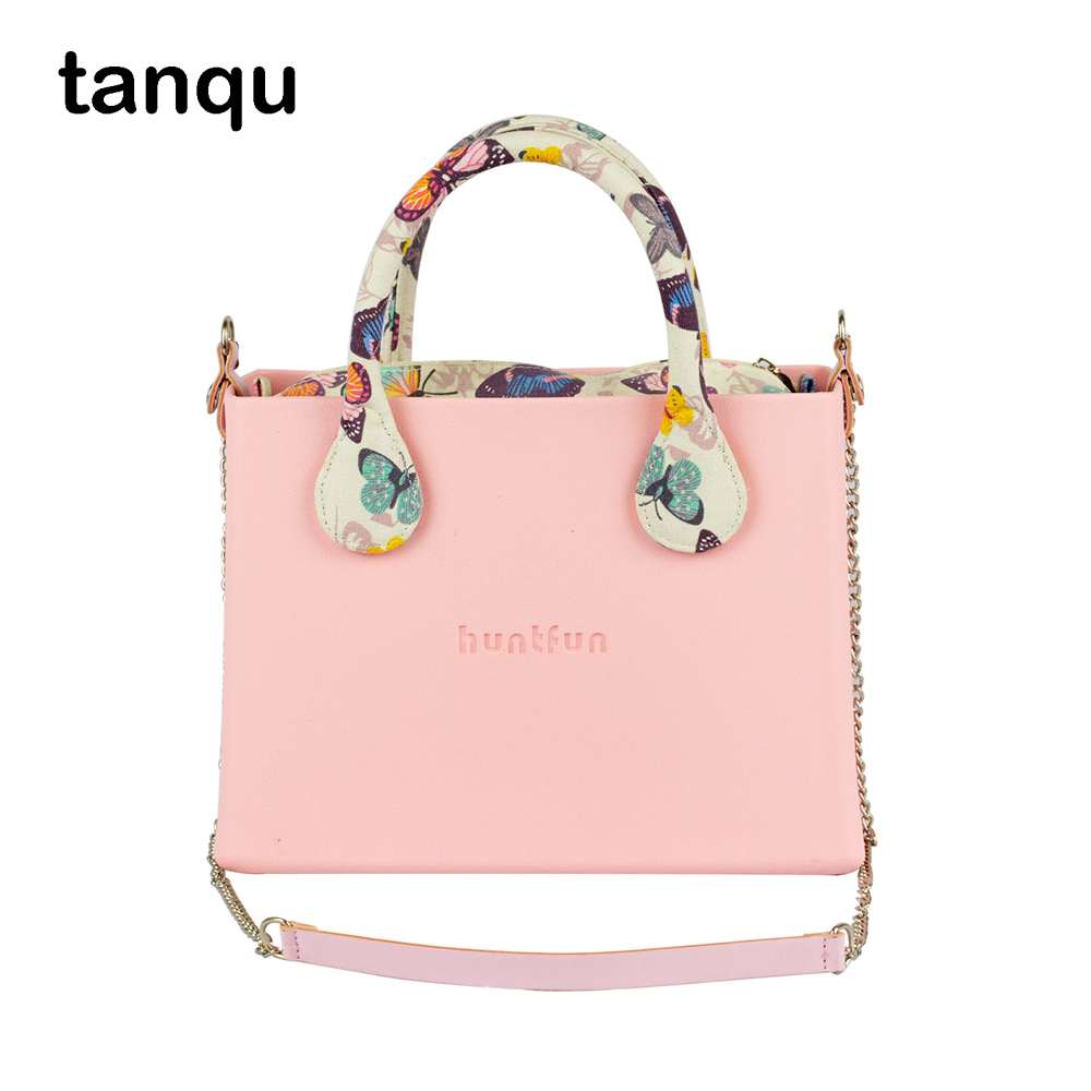 tanqu huntfun square Bag with floral Handles Shoulder Chain colorful Insert waterproof Obag style women O bag EVA rubber new colorful cartoon floral insert lining for o chic ochic canvas waterproof inner pocket for obag women handbag