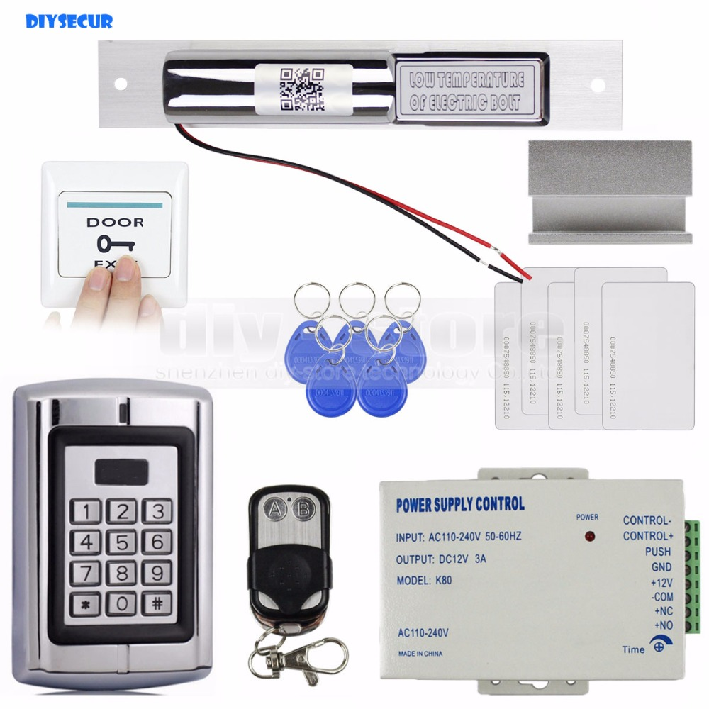 DIYSECUR Remote Control RFID 125KHz Metal Keypad Door Access Control Security System Kit +  Electric Bolt Lock + Door Clamp diysecur 125khz rfid metal case keypad door access control security system kit electric strike lock power supply 7612