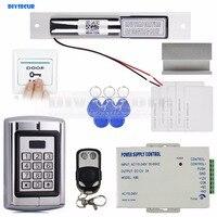 Diysecur Дистанционное управление RFID 125 кГц Металл клавиатуры дверей Управление доступом безопасности Системы Kit + аудио домофоны + дверь зажим