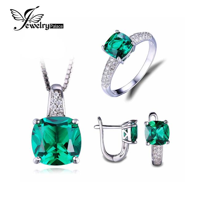 Jewelrypalace 8.7ct nano ruso anillo esmeralda pendiente de clip pendientes de la joyería 925 de plata esterlina joyería fina 45 cm cadena de caja