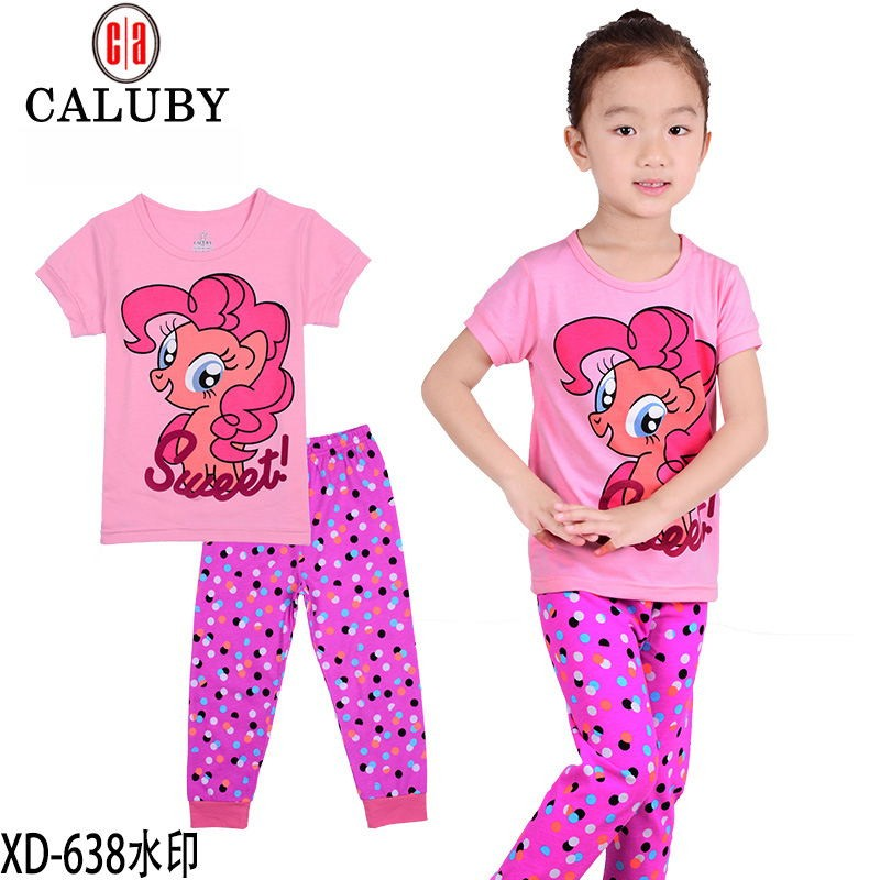 Hot-2016-new-pony-clothes-girls-clothing-sets-kids-pajamas-children-2-piece-sleepwear-home-fashion (2)
