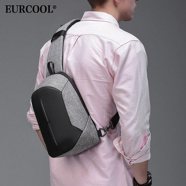 """EURCOOL NOVA Moda Pacote Peito Homens 9.7 """"iPad Saco Crossbody bolsa de Ombro Bolsa de Viagem À Prova D' Água de Carregamento USB Multifunction Curto n1902"""