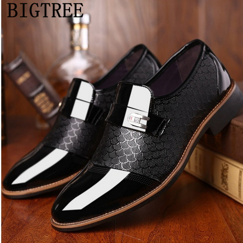 Mens Mid Cuban Heel Lace Up Dress Formal Weddings patent Leather Shoes oxford