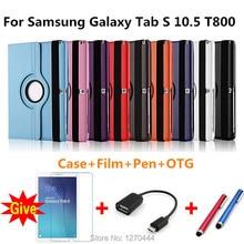 360 Rotación de piel Litchi PU cubierta de Cuero Para Samsung Galaxy Tab 10.5 s T800 T801 T805 Tablet PC Inteligente Case + pen + Película + OTG